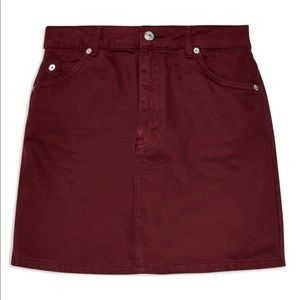 Top shop maroon denim skirt